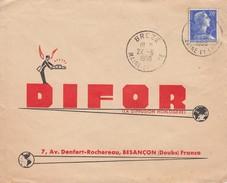 BREZE MAINE-ET-LOIRE  . OBLITERATION RONDE SUR LETTRE PUBLICITE.  MARIANNE DE MULLER 20F  /  4 - Postmark Collection (Covers)