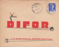 MONTCY-ST-PIERRE ARDENNES   . OBLITERATION RONDE SUR LETTRE PUBLICITE.  MARIANNE DE MULLER 20F  /  4 - 1961-....