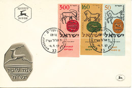 Israel FDC Jerusalem 4-9-1957 Complete Set Of 3 With Cachet - FDC