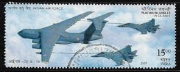 India 2007 Indian Air Force Platinum Jubilee IL-78 Aviation Odd Shaped Used Stamp # AR:126 - Used Stamps