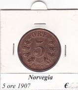 NORVEGIA   5 ORE   ANNO 1907  COME DA FOTO - Norvegia