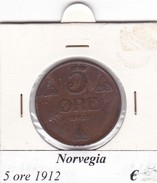 NORVEGIA   5 ORE   ANNO 1912  COME DA FOTO - Norvegia