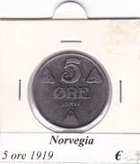 NORVEGIA   5 ORE   ANNO 1919  COME DA FOTO - Norvegia