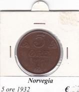NORVEGIA   5 ORE   ANNO 1932  COME DA FOTO - Norvegia