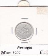 NORVEGIA   25 ORE   ANNO 1909  COME DA FOTO - Norvegia
