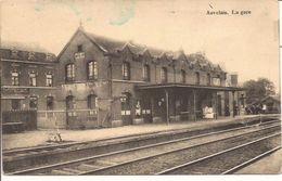 AUVELAIS LA GARE CACHETÉE FELDPOST NAMUR 1915  913/d4  état : 95% - Gares - Sans Trains