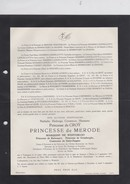 WESTERLO-NATHALIE-HEDWIGE-PRINCESSE-DE CROY-DE MERODE-RUBEMPRE-GRIMBERGHE-TRAZEGNIES-1863-WESTERLO+1957-DOODSBRIEF - Décès