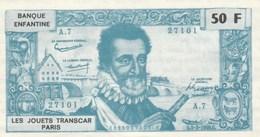 BANQUE ENFANTINE LES JOUETS TRANSCAR 50F HENRI IV - Specimen
