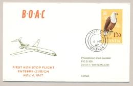 Uganda - 1967 - 1'30 African Fish Eagle Stamp On BOAC Airmail Flight-cover Entebbe - Zürich / Schweiz - Oeganda (1962-...)