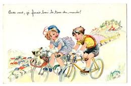 """ILLUSTRATEUR . JANSER . """" Avec Vous, Je Ferais Bien Le Tour Du Monde ! """" . Cyclisme - Réf. N°3896 - - Janser"""