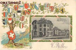 LES VERRIERES RUE DE LA GARE EMBLEME PATRIOTISME NEUCHATEL SUISSE SWITZERLAND - NE Neuchatel