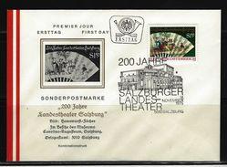 ÖSTERREICH - FDC Mi-Nr. 1498 - 200 Jahre Landestheater Salzburg Stempel Salzburg (15) - FDC
