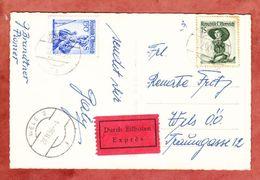 AK Geburtstagswuensche Rosenkorb, Expres, MiF Trachten, Schwaz Nach Wels, AK-Stempel 1956 (40144) - 1945-60 Lettres