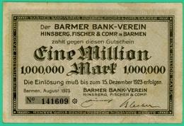 1 Million  Mark - Allemagne - Barmen - 23 Décembre 1923 - Barmer Bank Verein - N° 141609  -  TB+ - - [ 3] 1918-1933 : Weimar Republic