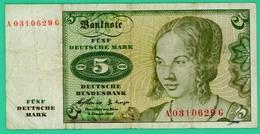 5 Mark - Allemagne - Janvier 1960 - N° A0310629G  - TB+ - - [ 7] 1949-… : RFA - Rep. Fed. De Alemania