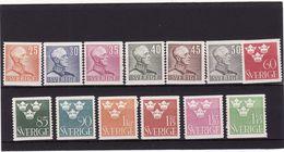 Suède 1939/42 Cat. Yvert N° 261B/72** TB - Nuovi