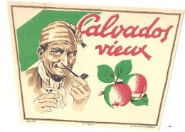 étiquette - Vieux Calvados - Au Dos Explication - étiquette D'imprimeur -  4pts De Colle Ou Petit Clair - Whisky