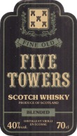 étiquette -  WISKY  Five Towers - Whisky