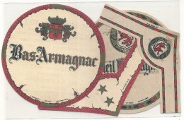 étiquette - 2 étiquettes Avec Colerette ARMAGNAC  étiquette D'imprimeur -imprimée Au Dos Explications Repiquage - Whisky