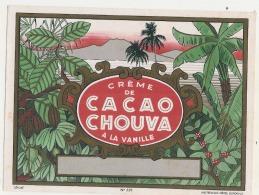étiquette - Joli Graphisme - Creme De Cacao CHOUVA à La Vanille  TTB - Whisky