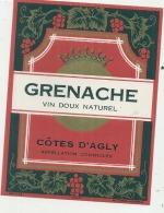 étiquette - GRNACHE  Côtes D'Agly Appellation Contrôlée - Red Wines