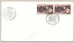 Rep. Centrafricaine - 1966 - 2x 25 Fr Comptoir National Du Diamant / Diamantslijpen On FDC - Not Sent - Centraal-Afrikaanse Republiek