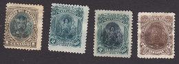 El Salvador, Scott #105-107, 106a, Mint Hinged/No Gum, Arms And Ezeta Overprinted, Issued 1895 - El Salvador