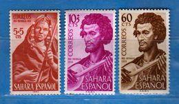 (Mn1) SAHARA Espagnol *- 1953 - Yvert  91-92-94.  MH. LINGUELLATI, Charnière Vedi Descrizione - Sahara Spagnolo
