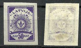 LETTLAND Latvia 1919 Michel 22 DÜNNES Papier Thinner Paper ! - Lettland