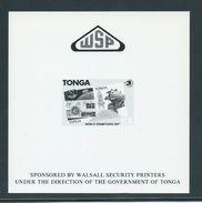 Tonga 1989 Stamp Expo WSP Presentation Proof On Thick Glossy Card - Tonga (1970-...)