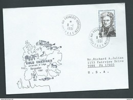 Belgium Antarctic 1991 TAAF Cover To USA , University Of Liege Cachet Adjacent , Signed - 1991-00