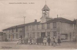 51 51 Vanault Le Chatel 1918 La Mairie Groupe D'écoliers TB Animée éditeur Julien Miguot Dos Scanné - France