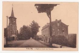 Ville-My: L' Eglise Et Route Vers Stavelot.Café Dumoulin-Paulus. - Hamoir