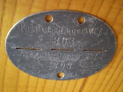 Militaire: Plaque D'identité Allemande Kr Gef G Lager VI/J 803 ; Prisonnier De Guerre ? - Army & War