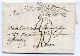 Lettre De AUGSBURG( Allemagne) Avec Marque De Transit D'ALLEMAGNE+ Franco France En Manuscrit - 1801-1848: Voorlopers XIX