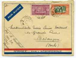 Enveloppe AEROPOSTALE AFRIQUE / Cad De THIES SENEGAL / TP AOF Sénégal / 1933 - Poste Aérienne