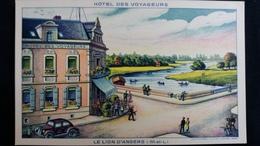 CPA LE LION D ANGERS 49 AU BORD DE L OUDON HOTEL DES VOYAGEURS E FOUILLET DESSIN AUTO - Hotels & Restaurants