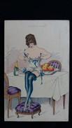 CPA ILLUSTRATEUR PINTI SERIE LES MARRAINES SERIE N°33  FEMME SEINS NUS NUE COQUINE SUR LA TABLE - Autres Illustrateurs