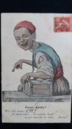 CPA ENFANT CIREUR DE CHAUSSURES ? BONNE ANNEE 1909 POR CITTE ANNIE LA SANTI LA SANCHE BEZEF ET PIS MARCHE LA ROTTE BARK - Kinderen