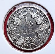 ♕♕  Allemagne : 1/2 Mark Argent ' Wilhelm II ' 1911 F -  SUP  ♕♕ - [ 2] 1871-1918 : Empire Allemand