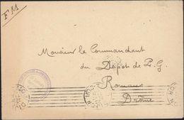 Guerre 14-18 Cachet Camp De Triage Des Prisonniers De Guerre Du Fort D'Asnières Le Capitaine Commandant Le Camp FM - Postmark Collection (Covers)