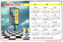 Sri Lanka. - GPT, Lanka Pay Phones, 1997 Calendar, 31SRLB, Used - Sri Lanka (Ceylon)