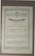 REGIE TERME DI MONTECATINI OPUSCOLO  DI 14 PAG. CON  TABELLA DIETETICA ,CIBI NON CONFACENTI ALLA CURA,..DEL MAGGIO 1867 - Medicina, Biologia, Chimica