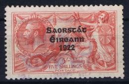 Ireland:  1922 Mi Nr 38 II  MH/* Falz/ Charniere   5 Mm - 1922-37 Stato Libero D'Irlanda
