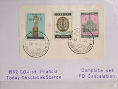 XZ3 Portugal GOA India Colony 1952 St Francis Cplte Set 3v. FDC Cancelation - Portuguese India