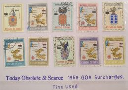 XZ3 Portugal GOA India Colony 1959 Surcharges New Values Stamps, High Values - Portuguese India