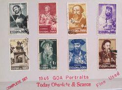 XZ3 Portugal GOA Portuguese India Colony 1946 Cplte Set Personalities Portraits - Portuguese India