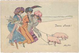 Cpa Illustrateur - Xavier Sager – Bonne Année ! ( Cochons ), Pli Bord Haut - Sager, Xavier