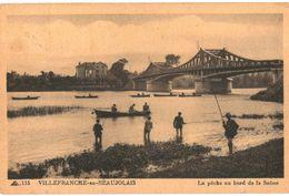 CPA N°4465 - VILLEFRANCHE EN BEAUJOLAIS - PECHE AU BORD DE LA SAONE + UNE - France