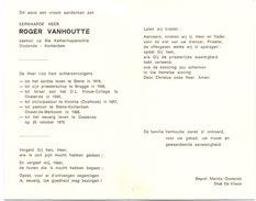 Devotie Doodsprentje - Pastoor Roger Vanhoutte - Stene 1919 - Oostende Konterdam 1976 - Obituary Notices